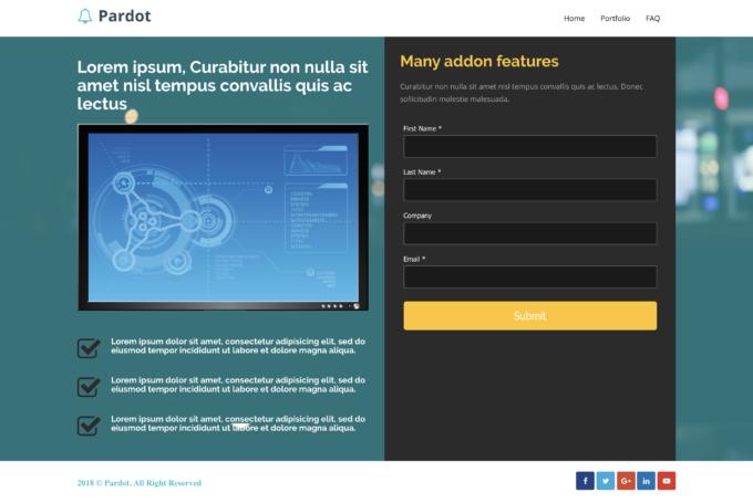 Pardot Product Landing Page