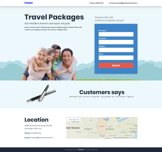 Pardot Lead capture landing page template